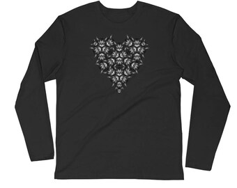 CAT HEART Long Sleeve Fitted Crew