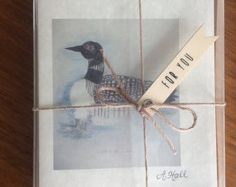 Hand-Sketched Loon Folded Notecard Set/Blessing