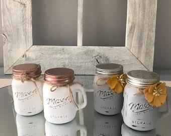 Mason jar salt & pepper shakers/french coutry/farmhouse decor/farmhouse kitchen/shabby chic decor/chalk paint/distressed decor