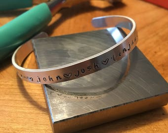 Name bracelet/Personalized cuff bracelet/Hand stamped