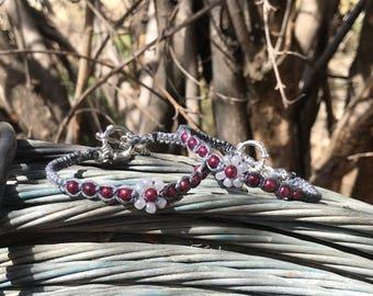 GRAY/BURGUNDY Bamboo Cord Bracelet