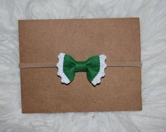 Green White Trim Bow St Patricks Day Baby Girl Bow