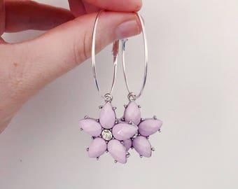 Purple Floral Hoops