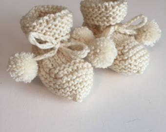 Baby Booties with Pom Ties