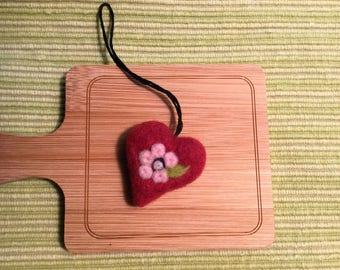 Felted heart ornament , token of love