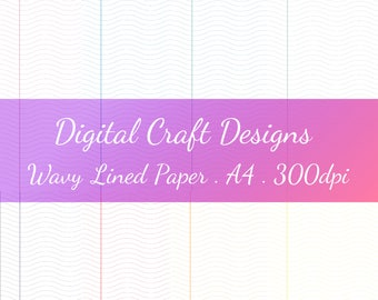 8 Colored Wavy Lined Digital Notebook Papers, School Digital Paper,  Notebook Lined Papers,  Lined Papers