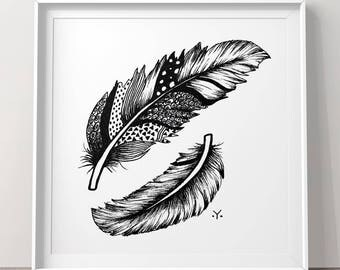 Wall art mandala Feathers