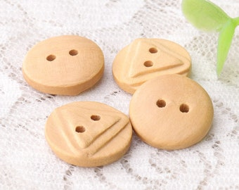 2 hole sewing wooden buttons natural wood buttons 10pcs 15mm round buttons triangle back wood buttons
