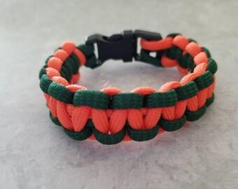 Orange and Green Paracord Bracelet