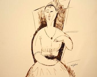 Beautiful Amedeo Modigliani print: A seated woman