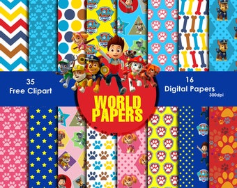 Paw Patrol Digital Paper - Digital Scrapbook Papers 12 x 12 inches, 300 dpi quality, Instant download,free cliparts,paper.
