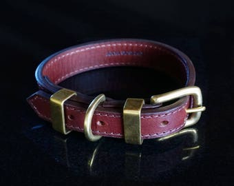 Luxury Dog's Collar in Chestnut Brown Vegetan Leather and Solid Brass Hardware