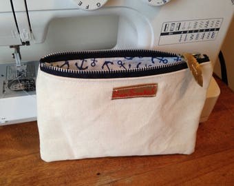 Canvas Zip Pouch with cotton lining