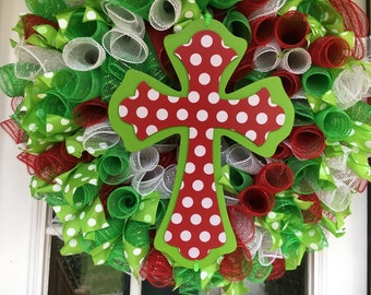 Ready to ship! Lime, Red and White Polka Dot Cross Deco Mesh Ribbon Wreath