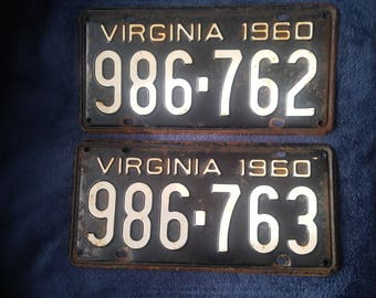 1960 Vintage License Plates- Sequential Pair- His & Hers