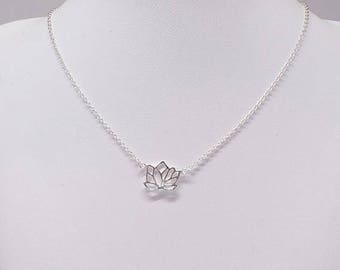 Lotus Sterling Silver Necklace/Lotus Charm, Lotus Blossom Charm Pendant With Chain