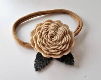Beige Rose Headband