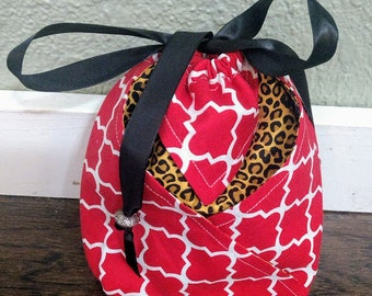 Red and Cheetah Drawstring Bag