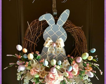 Easter Bunny Wreath, Easter Wreath, Easter Décor, Spring Wreath, Easter Floral Wreath, Spring Décor, Bunny Wreath,  Grapevine Wreath