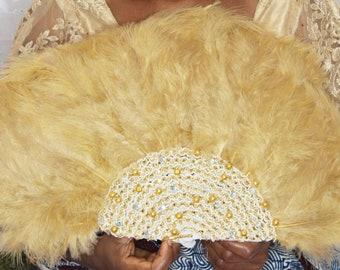 Custom Light Brown Jeweled Feather Fan for Traditional Wedding/Igbo/Yoruba/Benin/Edo Wedding