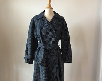 Vintage Canasport Navy Blue with White Polk Dots Belted Raincoat Made in Paris France