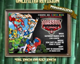 Rescue Bots Invitation, Rescue Bots Birthday, Rescue Bots Invite, Rescue Bots Party, Rescue Bots Birthday Invite, Rescue Bots Card