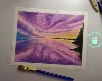 Watercolor Sunset- Original Painting
