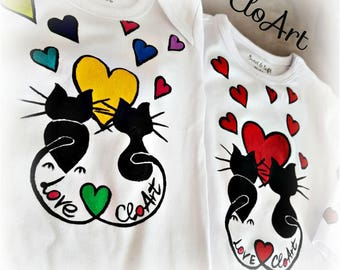 Cats love- Hand- painted t-shirts and baby bodysuits
