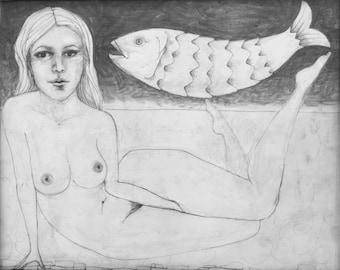 Underwater Woman, Giclee print of pencil on vellum, 2012