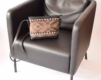 Kilim Bag-006 Front Side Kilim Back Side Leather Handbag Vintage Kilim Rug Bohemian Bag Boho Bag Hippie Bag
