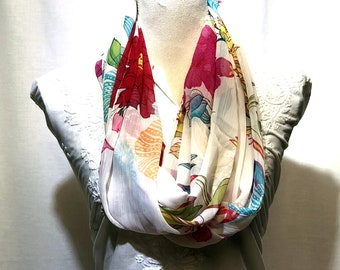 White floral scarf | summer collection | light weight | handwoven.