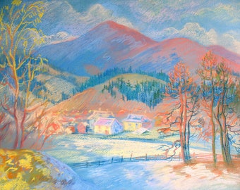 Pastel drawing, Winter Mountains, Landscape, Mountain village, Original drawing, Sunny day, Bright colors, Pastel art by Anna Trachuk