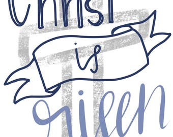 Christ is Risen Easter Cross Print