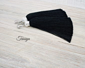Tassels earrings black . earrings handmade .earrings. earrings black long