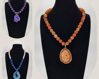 Necklace with natural stone pendant