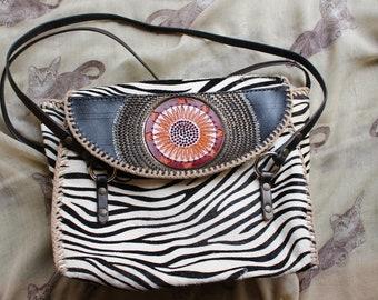 Handmade Carved leather handbag : zebra print fur-on leather with mandala carving, laced