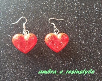 Heart shaped resin Earrings