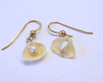 Natural Shell and Freshwater Pearls Earrings