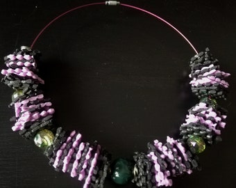 Pink and green choker necklace