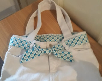 White denim upcycled handbag