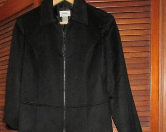 Loro Piana Cashmere Women's Jacket Black Vintage Neiman Marcus Zip Up Size 6 Made In New York City Finest Italian 100% Cashmere