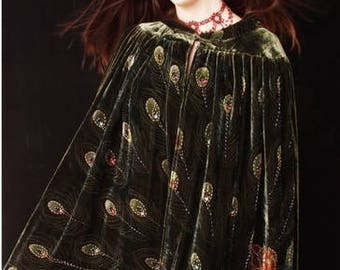 Forest Green Beaded Peacock Gypsy Cape Duster