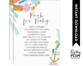 Whale Book for Baby / Whale Book Card / Nautical Book Insert / Whale Bring A Book / Whale Baby's Library Ocean *Digital Printable WH03