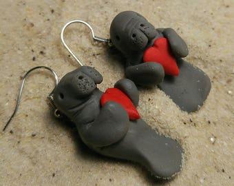 Florida Valentine Manatee Earrings