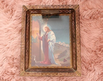 large vintage jesus shadow box light in metal frame, knocking at the door by W Victor Guinness . religious art wall decor