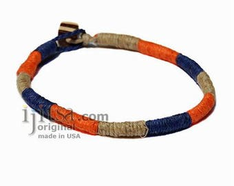 Leather Bracelet or anklet wrapped with Dark Blue, Orange and Natural hemp