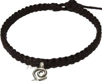 Licorice Flat Hemp Necklace with Double Spiral Pewter Pendant