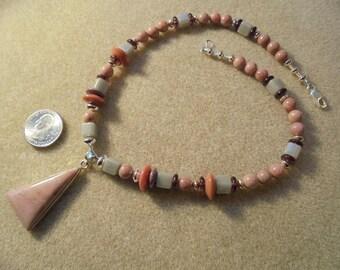 Pendant Necklace - Handmade - Pink Peruviuan Opal, Lampwork Glass, Sterling Silver