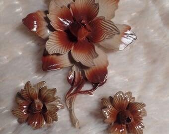 1960's Enameled Flower Set Signed Hedy-Earth Tones