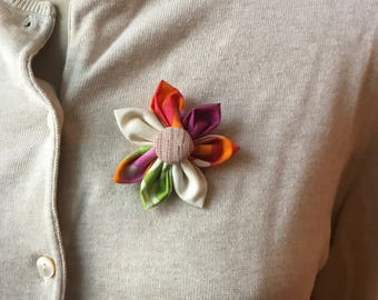 Multi Colored Fabric Flower Brooch, Flower Pin - Handmade Fabric Flower
